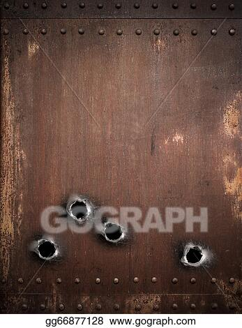 Stock Photo Old Metal Background With Bullet Holes Stock