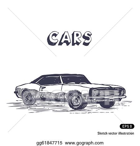 Vector Art Old Muscle Car Clipart Drawing Gg61847715 Gograph