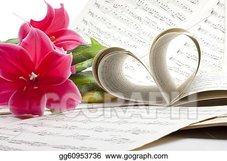 Stock photo old music note sheet with flowers stock photography old music note sheet with flowers mightylinksfo