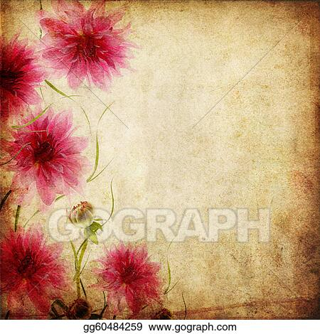 Drawing Old Paper Background With Flowers Clipart Drawing