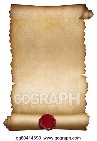 Drawing old paper roll or manuscript with wax seal for Drawing on wax paper