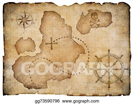 Old Pirates Parchment Treasure Map Isolated Clipping Path Included
