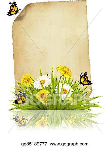 Eps Vector Old Sheet Of Paper With Spring Flowers And Butterflies