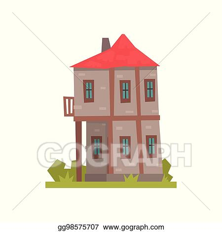 Vector Art Old Two Storey House With Red Roof Retro Architecture