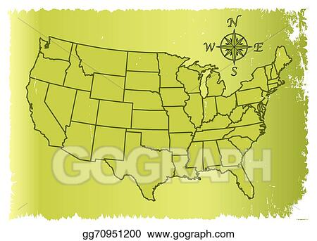 Vector Art - Old united states of america map. Clipart Drawing ...