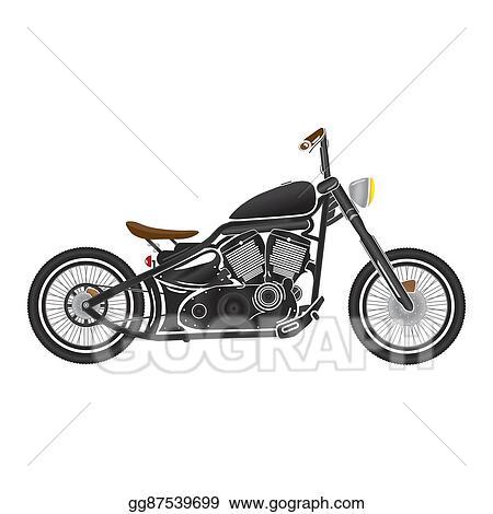Vector Art Old Vintage Black Bobber Bike Cafe Racer Theme