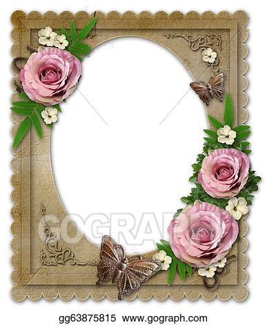 Drawings - Old vintage paper frame with flowers isolated on white ...