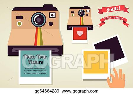 Camera Vintage Vector Free : Eps illustration old vintage polaroid camera with picture. vector