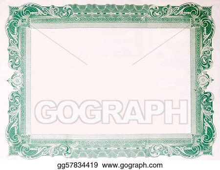 Stock Photo - Old vintage stock certificate empty border frame ...