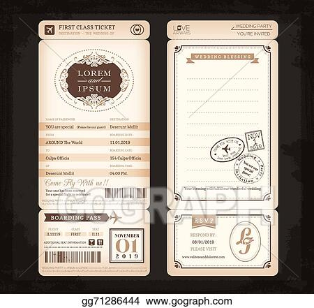 Vector Art Old Vintage Style Boarding Pass Ticket Wedding Card