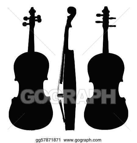 Clip Art Vector - Old violin silhouette sides  Stock EPS