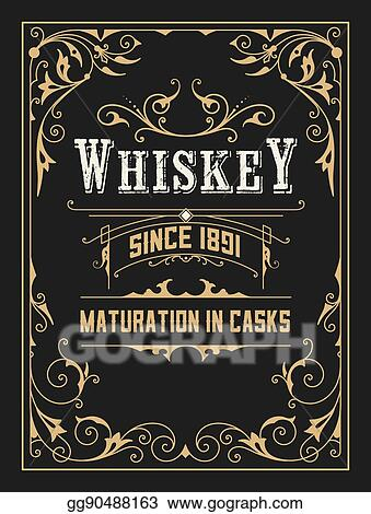 vector illustration old whiskey label with vintage frames stock