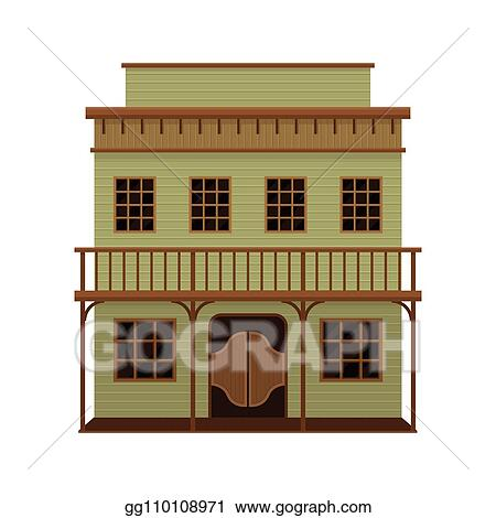 Vector Art - Old wild west saloon with porch and swinging