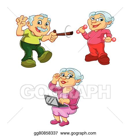 Vector Clipart Old Woman Old Man Cartoon Vector Illustration