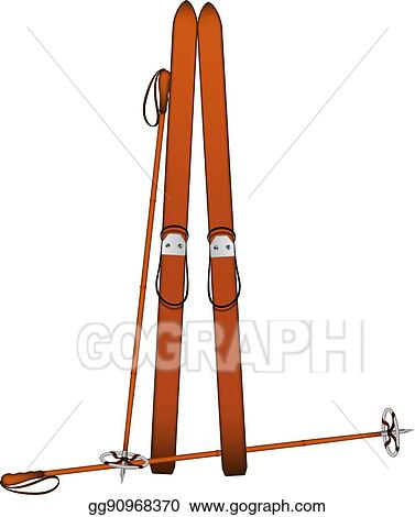 Vector Art Old Wooden Alpine Skis And Old Ski Poles Clipart
