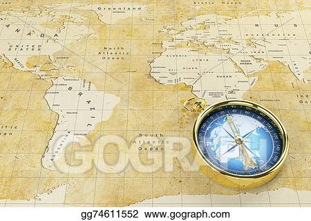Map Of The World With Compass.Drawings Old World Map And Antique Compass Stock Illustration