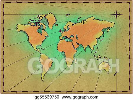 Vector art old world map eps clipart gg55539750 gograph vector art an old world map drawn onto parchment paper eps clipart gg55539750 gumiabroncs Gallery