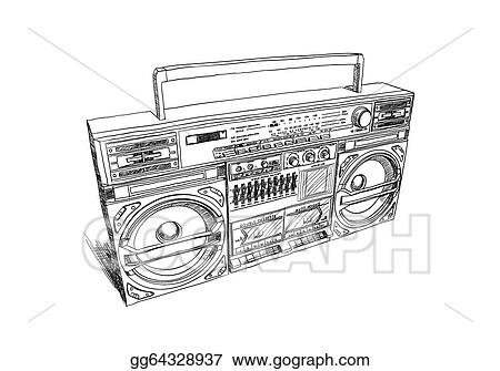 Vector Art - Oldschool boombox. Clipart Drawing gg64328937 ...