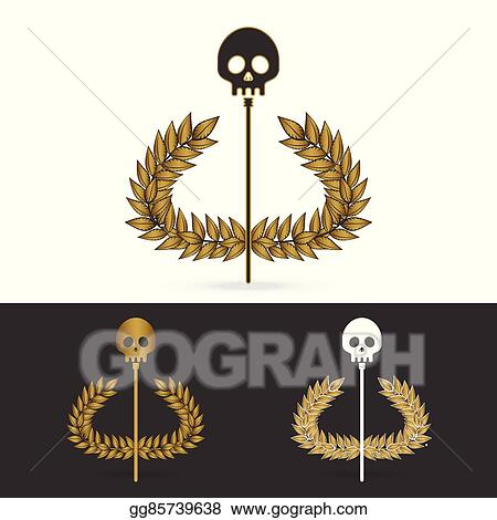 Eps Vector Olive Branch With Skull Symbol Of Greek God Hades