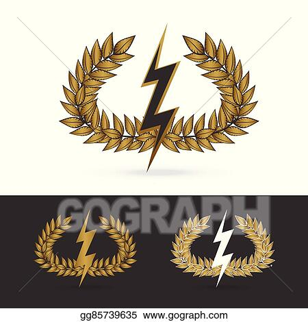 Clip Art Vector Olive Branch With Thunder Symbol Of Greek God Zeus