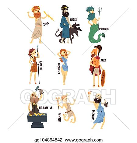 Clip Art Vector Olympian Greek Gods Set Dionysus Hermes