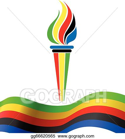 vector stock olympic torch symbol with flag clipart illustration rh gograph com olympic torch clipart olympic torch images clip art