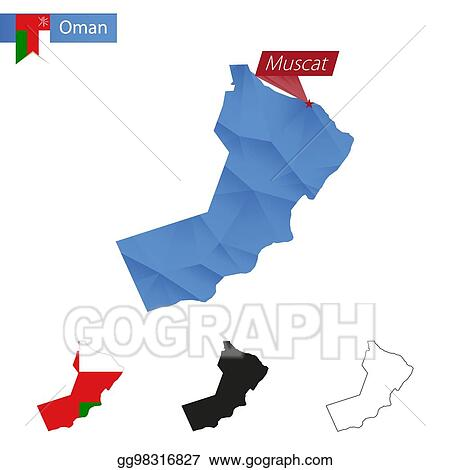 Vector Clipart - Oman blue low poly map with capital muscat  Vector