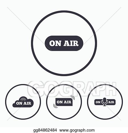 Vector Art - On air icons  live stream signs  microphone