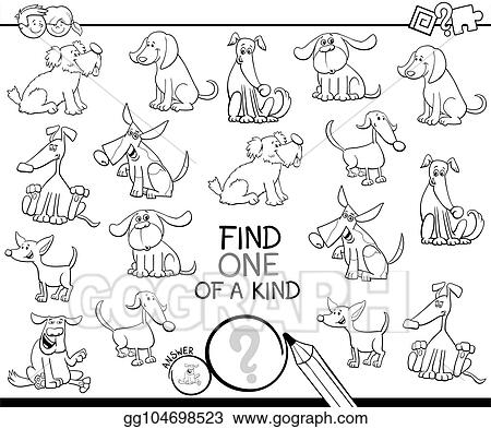 Vector Stock - One of a kind game with dogs color book. Stock Clip ...