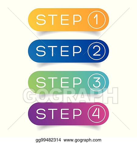 Vector Art - One two three four steps progress  Clipart