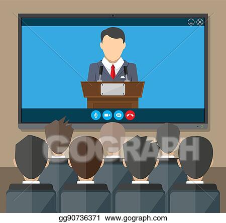 Vector Art - Online conference  internet meeting, video call