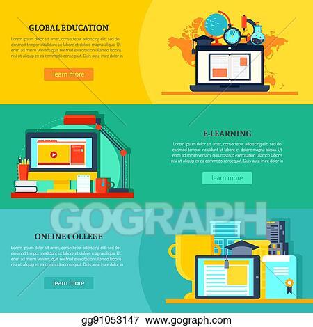 Vector Clipart Online Education Horizontal Banners Vector Illustration Gg91053147 Gograph
