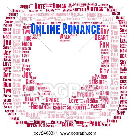 drawing online romance word cloud shape clipart drawing