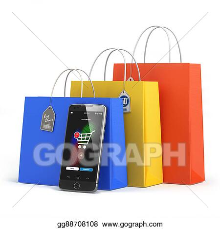 3c69281e563 Online shopping concept. Mobile phone or smartphone with shopping paper bag  isolated on white.