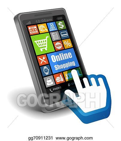 adaecc3aa1b Clip Art - Online shopping on smartphone. Stock Illustration ...