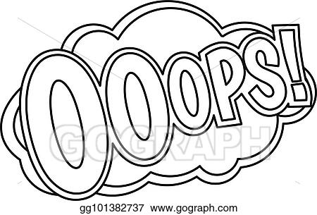 Vector Stock - Ooops, comic text sound effect icon, outline