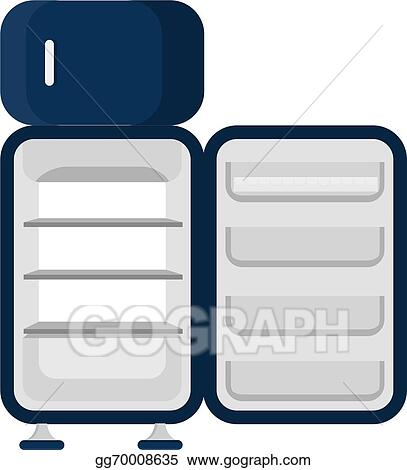 open refrigerator drawing. vector art - blue refrigerator, open and empty. isolated on a white background. clipart drawing gg70008635 refrigerator