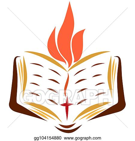 drawing open bible with a bookmark with a cross and a flame