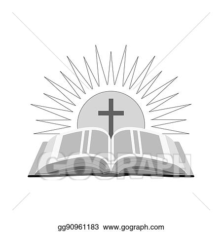 drawing open bible with sun and cross icon church logo concept