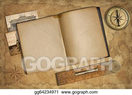 Open Diary Over Old Treasure Map With Compass