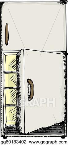 open door drawing. Vector Art - Illustration Of Refrigerator With Open Door Over White. Clipart Drawing Gg60183402