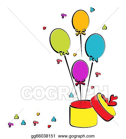 Vector Art Open Gift Box With Balloons For Your Birthday Colorful