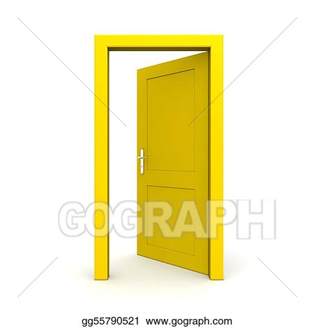 open door drawing centralazdining open single yellow door stock illustration single yellow door clipart drawing