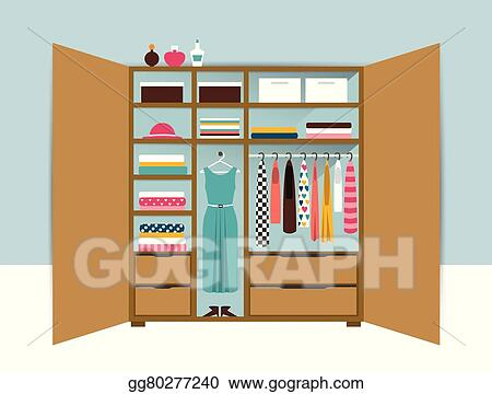 Open Wardrobe Wooden Closet With Tidy Clothes Shirts Sweaters Boxes And Shoes Home Interior Flat Design