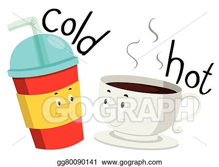 vector art opposite adjective cold and hot clipart drawing rh gograph com hot and cold things clipart hot and cold clipart black and white