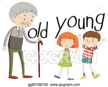vector art opposite adjectives old and young clipart drawing rh gograph com young cleopatra young clip art