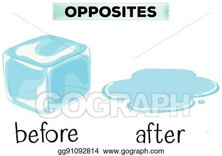 Vector Clipart - Opposite words for before and after. Vector ...