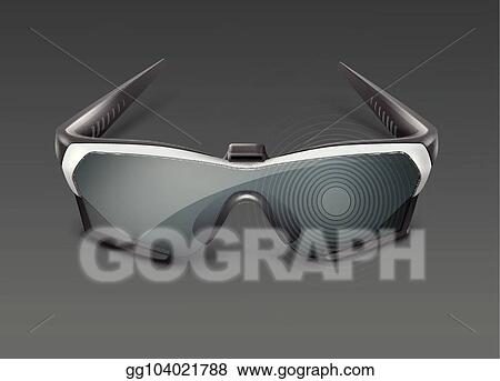 65e9ed5aeb Vector Illustration - Vector optical head-mounted display or augmented  reality smart glasses front view isolated on dark background. EPS Clipart  gg104021788