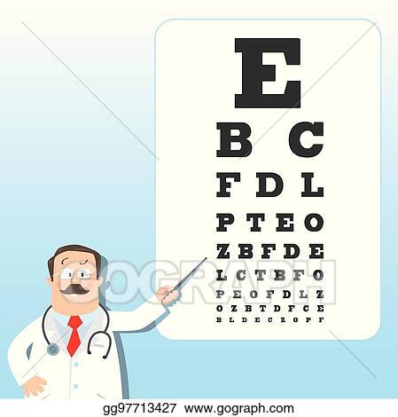 Vector Illustration Optician Doctor With Snellen Eye Chart Doctor