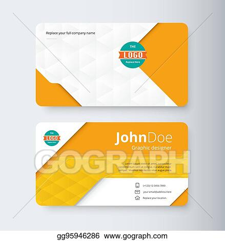 Vector Stock Orange Business Contact Card Template Clipart